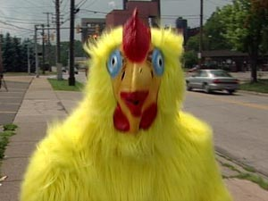 Man dressed like a chicken at the side of the road