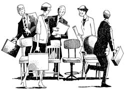 Business people walking around office chairs in a game of Musical Chairs