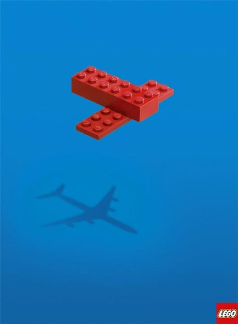 Lego ad imagining how a child sees a real plane from two simple lego pieces
