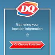 mobile app for DQ restaurant showing location services