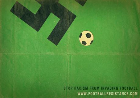 ad against racism in sport with swastika kicking football
