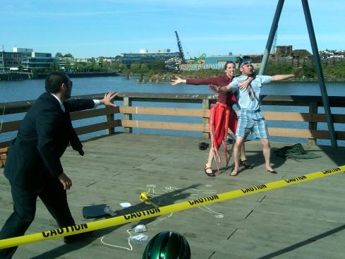 Victoria actors Chris Cooley, Christina Patterson and David Radford perform at Bike Ride