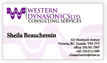 old business card for Victoria BC consultant Sheila Beauchemin