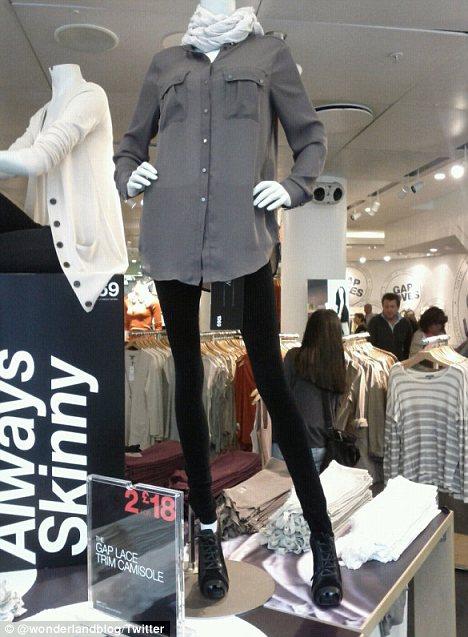 "Ultra skinny mannequin for Gap ""always skinny"" jeans"