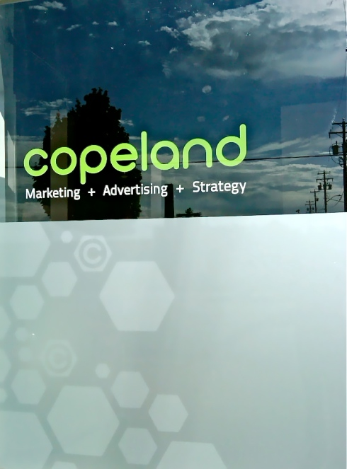 New Copeland windows with branding by Mini Max Media