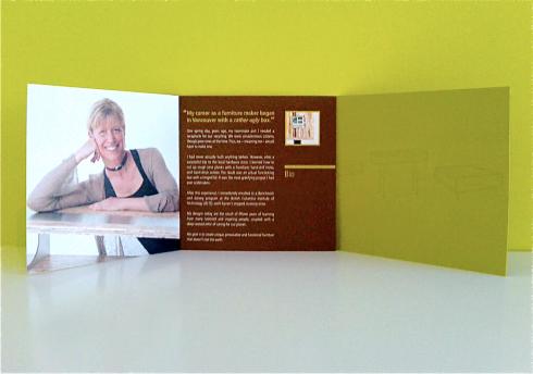 photo of inside spread of Christina Hilborne's sales piece/catalogue