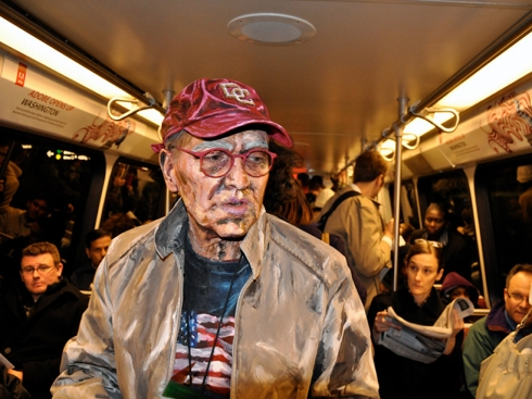 Alexa Meade's photograph of a painted man on subway