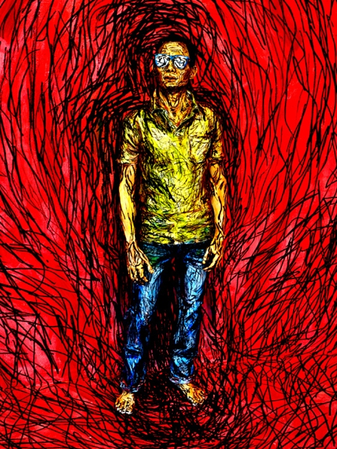 Alexa Meade painting of man with red background and shades