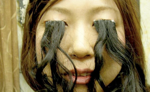 A Japanese woman with long eyelashes