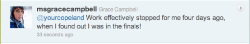 Grace Campbell's tweet for votes