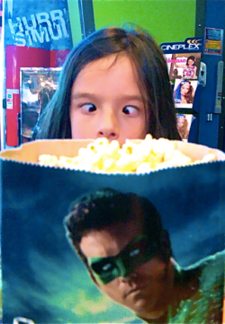 8-year old Victoria BC blogger Lola Brown with popcorn