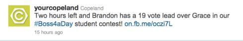 Copeland's Boss4aDay contest tweet 2