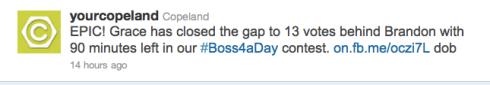 Copeland's Boss4aDay contest tweet 3