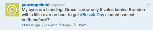Copeland's Boss4aDay contest tweet 4