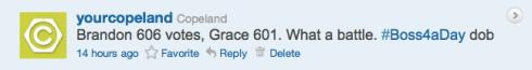 Copeland's Boss4aDay contest tweet 5