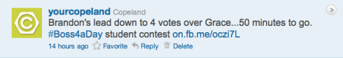 Copeland's Boss4aDay contest tweet 6