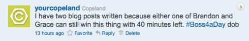 Copeland's Boss4aDay contest tweet 7