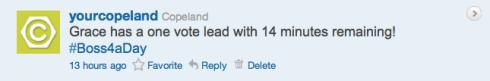 Copeland's Boss4aDay contest tweet 11