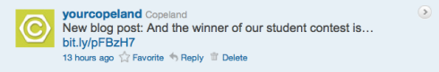 Copeland's Boss4aDay contest tweet 18