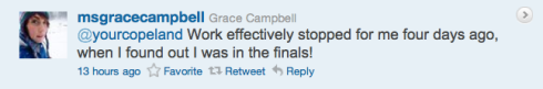 Grace Campbell contest tweet