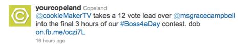 Copeland's Boss4aDay contest tweet 1