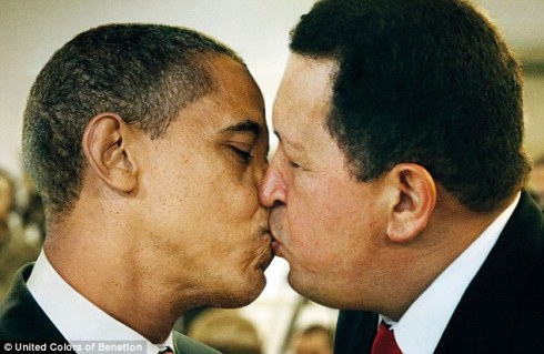Benetton ad of Obama and Chavez kiss