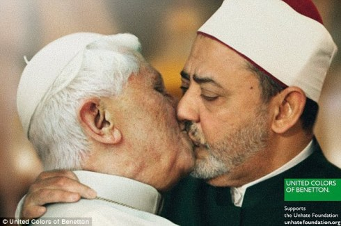 Benetton ad with Pope and an Imam kissing
