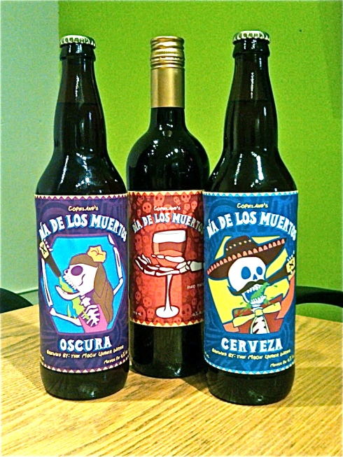 Beer and wine labels for Dia de los Muertos