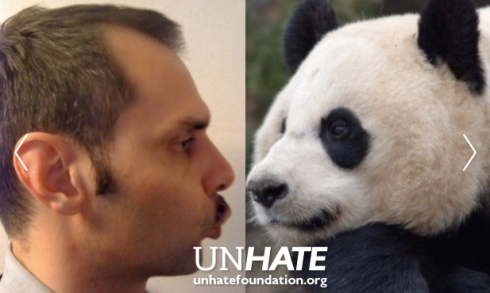 Man kissing panda from Benetton Unhate Wall