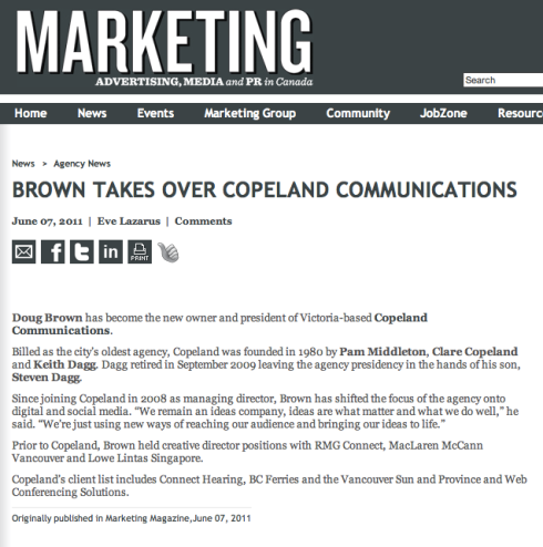 Marketing Online story about Copeland purchase