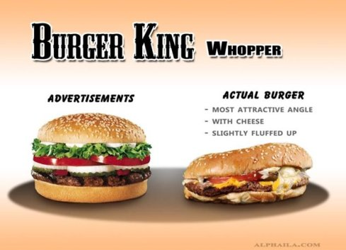 Burger King Whopper ad versus the real thing