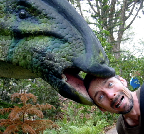Dinosaur eating human