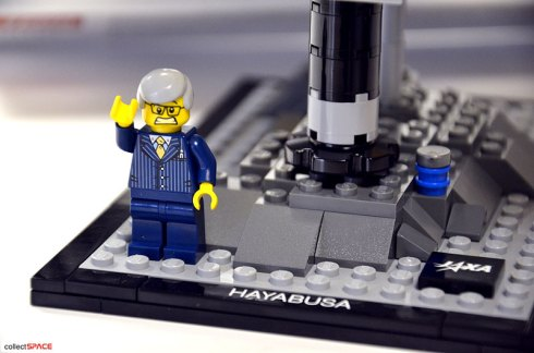 JAXA project manager Kawaguchi as unhappy LEGO guy